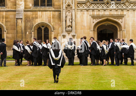 Cambridge University students gowns on Graduation day at Corpus Christi College, England - Stock Image
