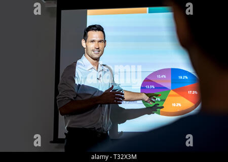 Happy Manager Corporate Businessman Talking At Business Meeting In Office - Stock Image