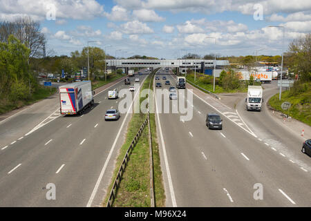 M6 motorway in Lancashire at Charnock Richard services, looking north. - Stock Image