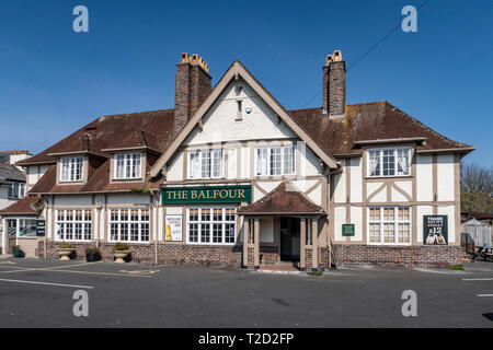 The Balfour pub, at Woolbrook in Sidmouth, Devon. - Stock Image