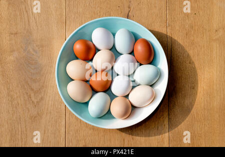 a bowl of chicken eggs of different colours seen from above - Stock Image