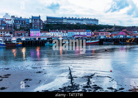 Whitby harbour, Whitby Town, Whitby town, Whitby, Yorkshire, UK, England, Whitby harbor, harbour, harbor, town, towns, harbours, harbors, coastal - Stock Image