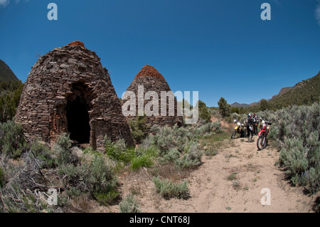 Charcoal Kiln Nevada mining coal furnace oven fire old chamber stone - Stock Image