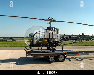 Agusta Bell 47 (Bell H-13 Sioux) vintage helicopter on trailer. Digital Hasselblad high resolution shot. - Stock Image