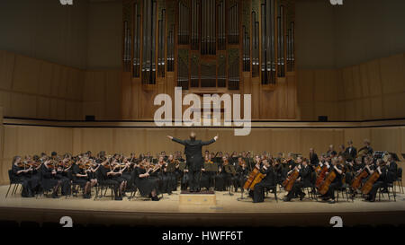 Rear view of conductor gesturing and leading music orchestra in auditorium - Stock Image