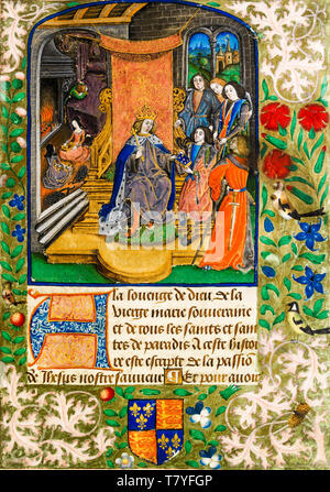 Henry VII in mourning. Presentation page from the Vaux Passional, Peniarth MS 482D, c. 1503 - Stock Image