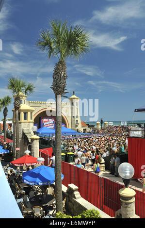 Capacity crowd watching NCA Cheerleading competition in Daytona Beach Bandshell. Daytona Beach, Florida, USA - Stock Image