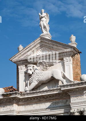 The Lion of St Mark above the Porta Magna of the Venetian Arsenal, Venice, Italy - Stock Image