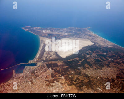 Aerial view of the Akrotiri salt lake near Limassol, Cyprus. In the middle of august, the lake has dried out. - Stock Image
