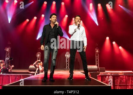The German Schlager Duo Fantasy with Fredi Malinowski and Martin Marcell live at the 19th Schlager Night in Lucerne, Switzerland - Stock Image