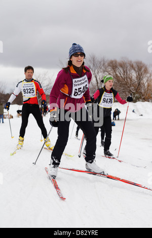 Competitors near the finish line of the American Birkebeiner in Hayward, Wisconsin on February 23, 2013. - Stock Image