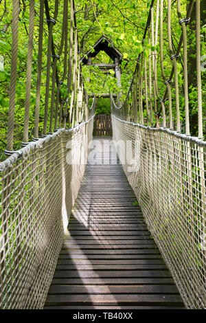 A suspension bridge across to the tree house restaurant at Alnwick Castle, Northumberland, UK. - Stock Image