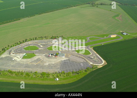 Aerial view of a Go-cart track in Kimbolton in Cambridgeshire - Stock Image