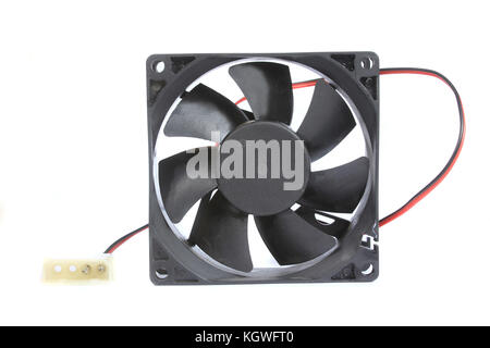 An old CPU cooling fan, isolated on white studio background. - Stock Image