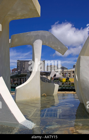 Detail of a sculpture in Wellington Quayside in New Zealand - Stock Image