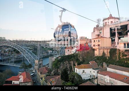 Aerial view of Monastery da Serra do Pilar from Teleférico Vila Nova de Gaia cable car on the River Douro in Porto, Portugal Europe EU  KATHY DEWITT - Stock Image