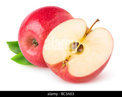 Isolated apples. Whole red apple and a half isolated on white background with clipping path - Stock Image