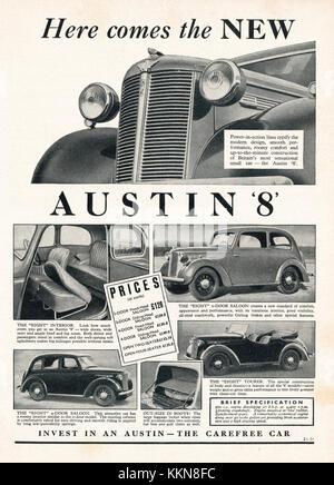 1939 UK Magazine Austin 'Eight Car Advert - Stock Image