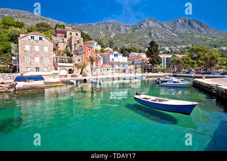 Idyllic village of Mlini in Dubrovnik archipelago view, south Dalmatia region of Croatia - Stock Image