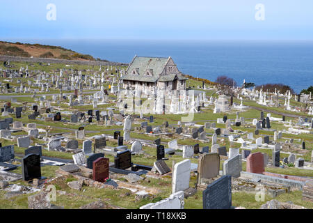 Great Orme Cemetery Chapel and cemetery near Llandudno were established in 1859 adjacent to the ancient church of St Tudno. - Stock Image