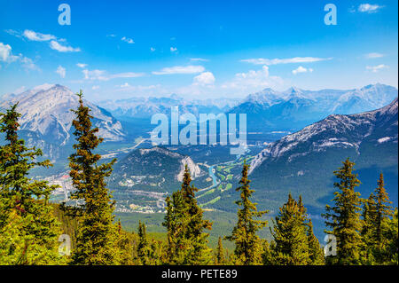 Mountain ranges as view from Sulphur Mountain in Banff National Park, Alberta, Canada, showing Banff townsite, the Bow River and surrounding peaks. - Stock Image