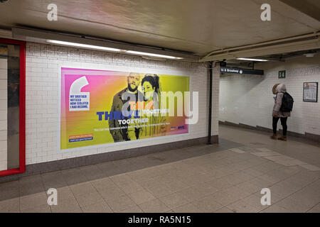 A poster for the NYC STRIVE program in the Union Square subway station in lower Manhattan, New York City. - Stock Image