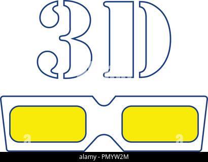 3d goggle icon. Thin line design. Vector illustration. - Stock Image