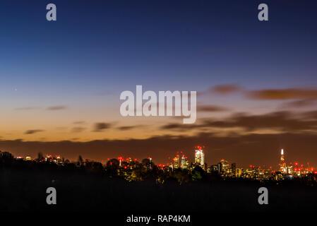 London skyline at dawn from Hampstead Heath, London, UK - Stock Image