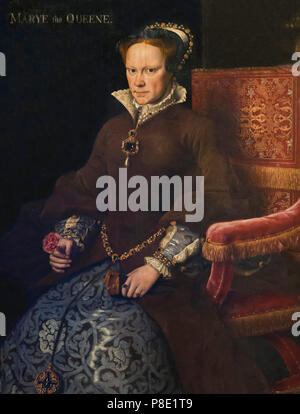 Portrait of Mary I, Queen of England, Anthonis Mor and workshop, circa 1555-1558, Isabella Stewart Gardner Museum, Boston, Mass, Massachusetts, North  - Stock Image