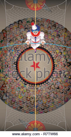 Overhead view of clown walking the high wire above the circus crowd - Stock Image