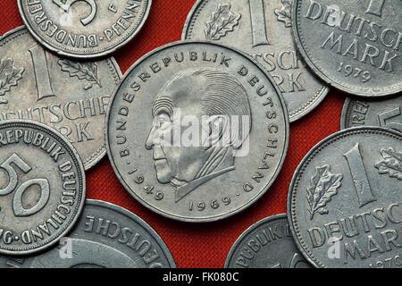 Coins of Germany. German statesman Konrad Adenauer depicted in the German two Deutsche Mark coin (1969). - Stock Image