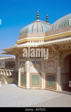 Building Detail Amber Fort, Jaipur, Rajasthan, India - Stock Image