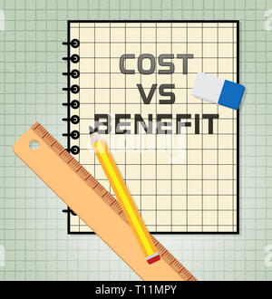 Benefit Versus Cost Book Means Value Gained Over Money Spent. Calculation Is Earnings Vs Expense - 3d Illustration - Stock Image