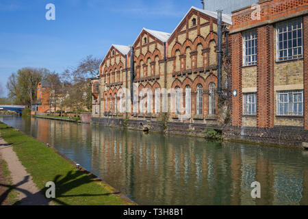 Old Victorian industrial buildings by the Thames at Oxford, orignally the Electric Lighting Station - Stock Image
