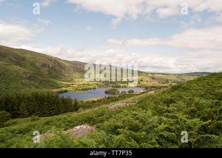 View of Gougane Barra Lake from surrounding hills.Gougane Barra Forest Park in County Cork,Ireland. - Stock Image