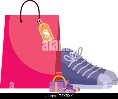 Shopping bag design, Store online ecommerce media market and internet theme Vector illustration - Stock Image