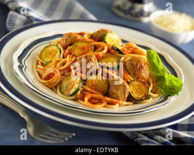 Spaghetti and Meatballs - Stock Image