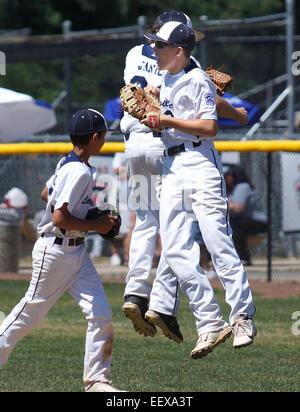 Lionville (PA) vs Berlin (MD) Little League tournament game on 8/6/13 in Bristol, CT, USA. Lionville's Connor - Stock Image