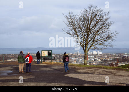 EDINBURGH, SCOTLAND - FEBRUARY 9, 2019 - The view of Leith and the Firth of Forth from Calton Hill - Stock Image