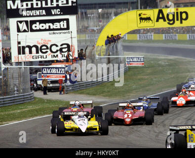 1982 Alain Prost (French) Renault RE30B dnf, Gilles Villeneuve (Canadian) 2nd & Didier Pironi (French) 1st Ferrari - Stock Image