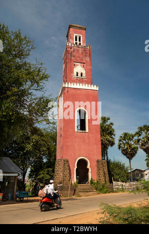 Cambodia, Kampong (Kompong) Cham, Tonle Bet, the Lighthouse, former French  colonial Tower built to control River Mekong traffic - Stock Image