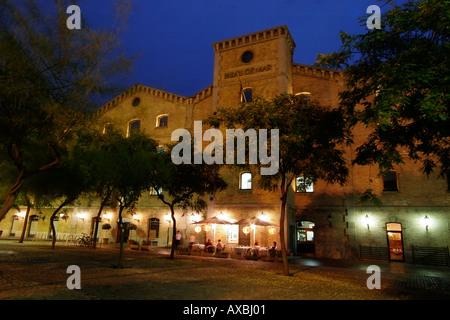 spain Barcelona Palau del Mar restaurant at night - Stock Image