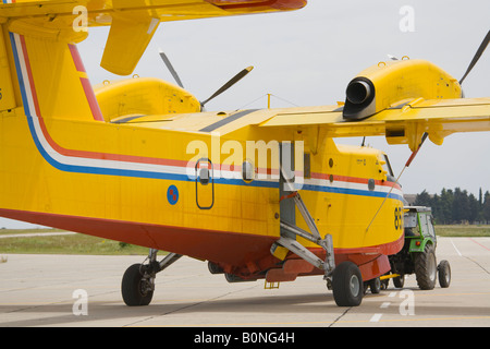 Canadair CL-415 '844' of Croatian Air Force is being pulled by tractor, Zemunik AFB, May 17, 2008 - Stock Image