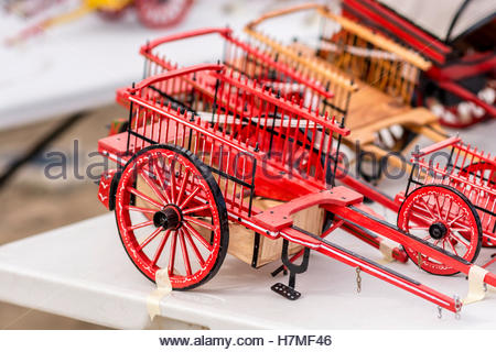 These models are a faithful reproduction of the old wagons towed by horses. - Stock Image