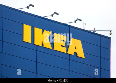 COVENTRY, UK - JULY 26TH 2018: The IKEA sign on the exterior of one of their stores in the UK, on 26th July 2018. - Stock Image