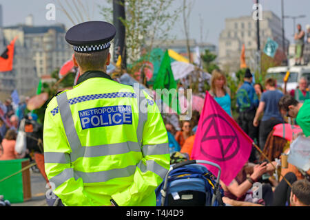 London, April 17th. Environmental campaign group Extinction Rebellion bring traffic to a standstill in central London for the third day running, camping out in several locations around the city, to demand that the Government take emergency action on the climate and ecological crisis.   Waterloo Bridge - Stock Image
