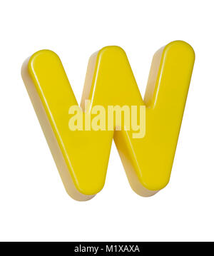 A cut out shot of a yellow plastic letter 'W' - Stock Image