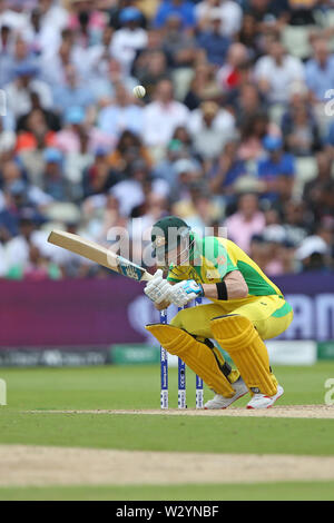 Birmingham, UK. 11th July 2019; Edgbaston, Midlands, England; ICC World Cup Cricket semi-final England versus Australia; Steve Smith ducks from a bouncer bowled by Mark Wood Credit: Action Plus Sports Images/Alamy Live News - Stock Image