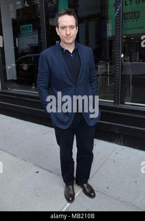New York, NY, USA. 5th Apr, 2018. Matthew Macfadyen, seen at BUILD Series to promote HOWARDS END out and about for Celebrity Candids - THU, New York, NY April 5, 2018. Credit: Derek Storm/Everett Collection/Alamy Live News - Stock Image