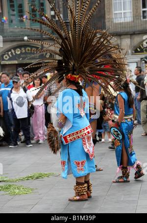 Mexican Dancers in Aztec Costume, Zocalo Square, Plaza de la Constitucion, Mexico City, Mexico - Stock Image